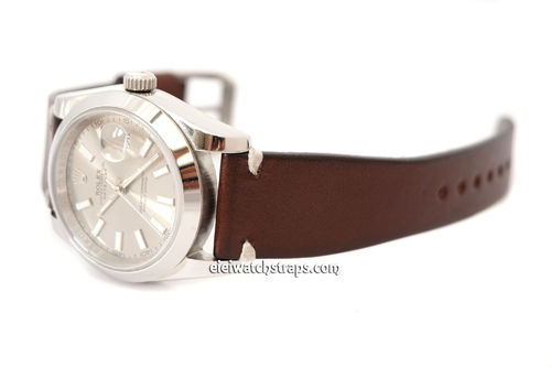 Handmade Vintage Racing Dark Brown Leather Watch Strap White Stitching For Rolex Watches
