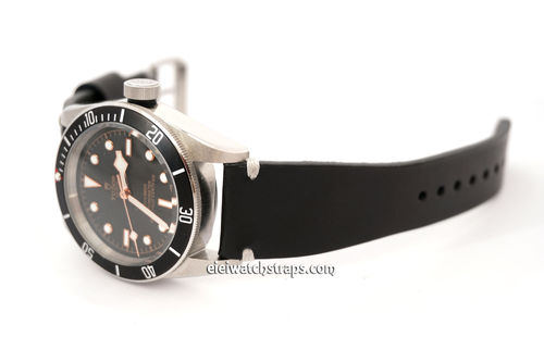 Handmade Vintage Racing Black Leather Watch Strap White Stitching For Tudor Black Bay
