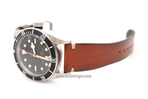 Handmade Vintage Racing Brown Leather Watch Strap White Stitching For Tudor Black Bay