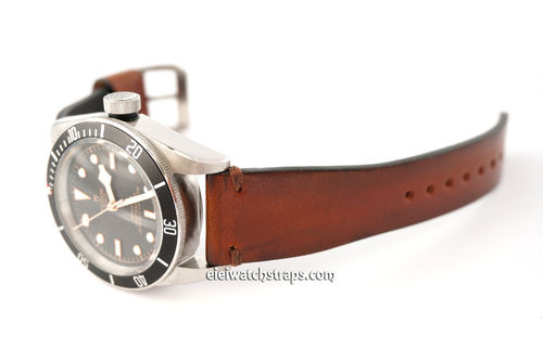 Handmade Vintage Racing Brown Leather Watch Strap For Tudor Black Bay