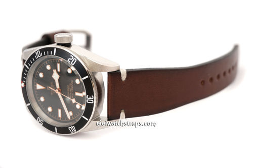 Handmade Vintage Racing Dark Brown Leather Watch Strap White Stitching For Tudor Black Bay