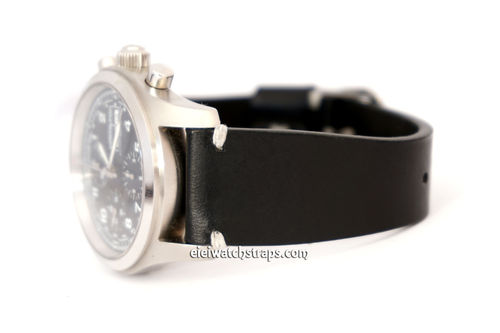 Handmade Vintage Racing Black Leather Watch Strap White Stitching For Hamiltion Watches