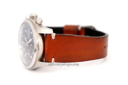 Handmade Vintage Racing Brown Leather Watch Strap White Stitching For Hamiltion Watches