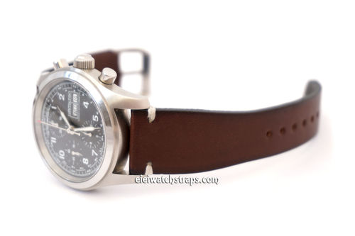 Handmade Vintage Racing Dark Brown Leather Watch Strap White Stitching For Hamiltion Watches