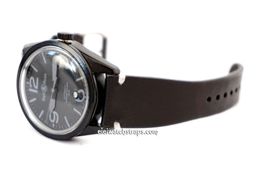 Handmade Vintage Racing Black Leather Watch Strap White Stitching For Bell & Ross Watches