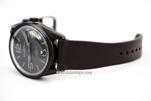 Handmade Vintage Racing Black Leather Watch Strap Black Stitching For Bell & Ross Watches