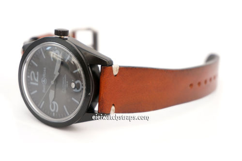 Handmade Vintage Racing Brown Leather Watch Strap White Stitching For Bell & Ross Watches