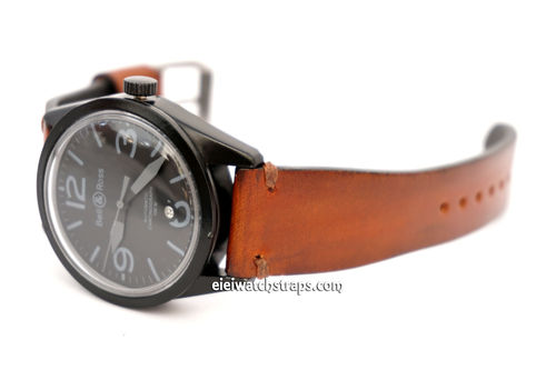Handmade Vintage Racing Brown Leather Watch Strap Brown Stitching For Bell & Ross Watches