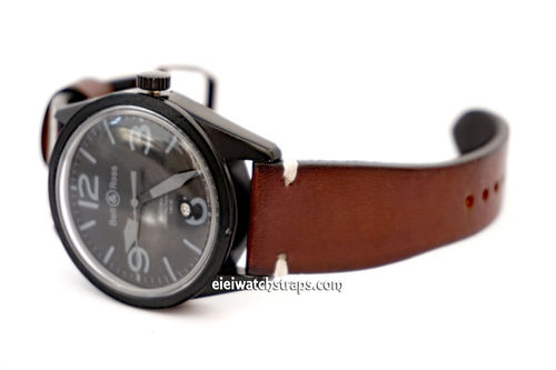 Handmade Vintage Racing Dark Brown Leather Watch Strap White Stitching For Bell & Ross Watches