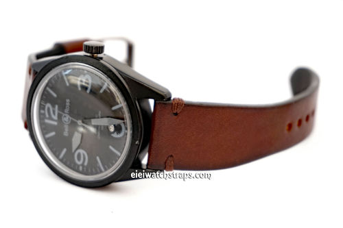 Handmade Vintage Racing Dark Brown Leather Watch Strap Brown Stitching For Bell & Ross Watches