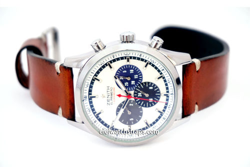 Handmade Vintage Racing Brown Leather Watch Strap White Stitching For Zenith El Primero