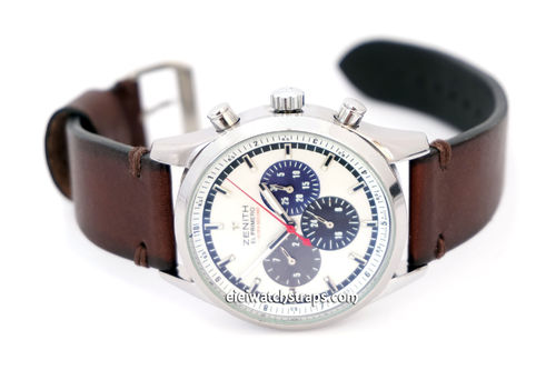 Handmade Vintage Racing Dark Brown Leather Watch Strap Brown Stitching For Zenith El Primero