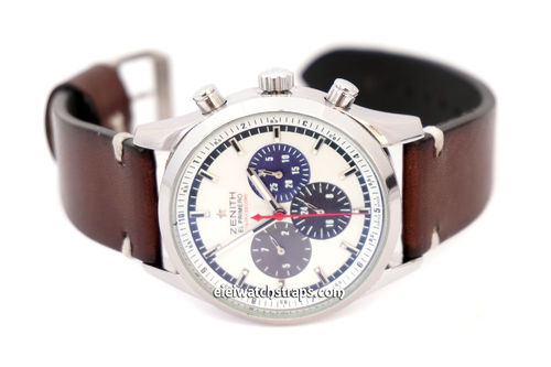 Handmade Vintage Racing Dark Brown Leather Watch Strap White Stitching For Zenith El Primero