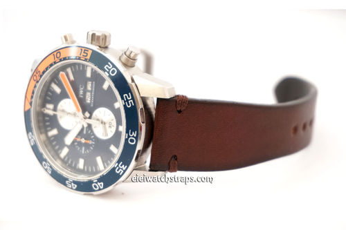 Handmade Vintage Racing Dark Brown Leather Watch Strap Brown Stitching For IWC Aquatimer