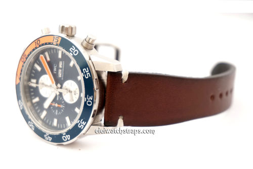 Handmade Vintage Racing Dark Brown Leather Watch Strap White Stitching For IWC Aquatimer