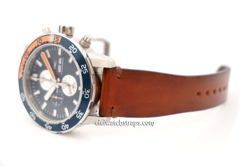 Handmade Vintage Racing Brown Leather Watch Strap Brown Stitching For IWC Aquatimer