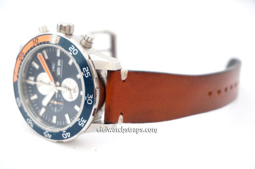 Handmade Vintage Racing Brown Leather Watch Strap White Stitching For IWC Aquatimer