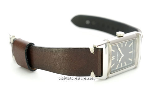 Handmade Vintage Racing Dark Brown Leather Watch Strap White Stitching For Jaeger-LeCoultre