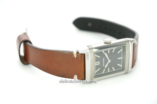 Handmade Vintage Racing Brown Leather Watch Strap White Stitching For Jaeger-LeCoultre