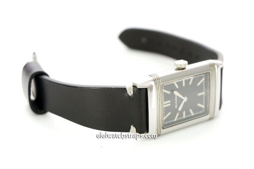 Handmade Vintage Racing Black Leather Watch Strap White Stitching For Jaeger-LeCoultre