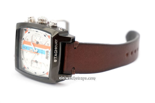 Handmade Vintage Racing Dark Brown Leather Watch Strap For TAG Heuer Monaco