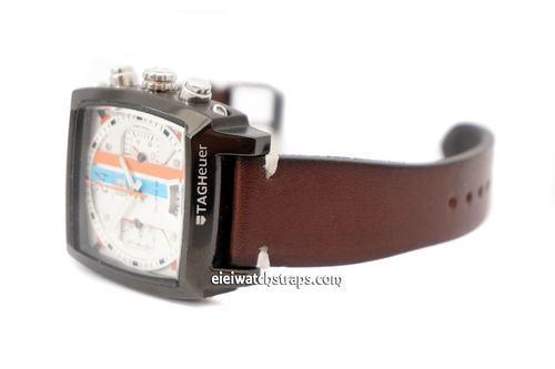 Handmade Vintage Racing Dark Brown Leather Watch Strap White Stitched For TAG Heuer Monaco