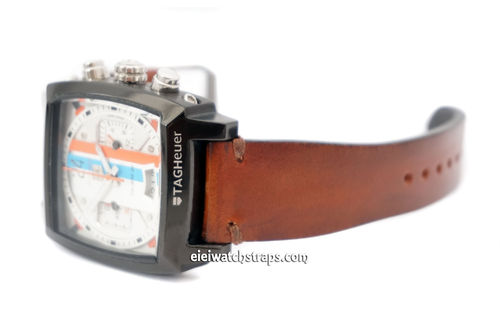 Handmade Vintage Racing Brown Leather Watch Strap For TAG Heuer Monaco