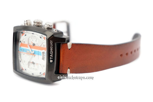 Handmade Vintage Racing Brown Leather Watch Strap White Stitched For TAG Heuer Monaco