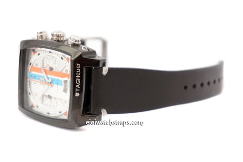 Handmade Vintage Racing Black Leather Watch Strap White Stitched For TAG Heuer Monaco