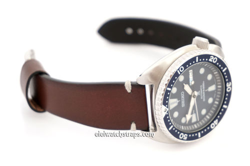 Handmade Vintage Racing Dark Brown Leather Watch Strap White Stitching For Seiko Watches