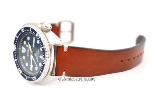 Handmade Vintage Racing Brown Leather Watch Strap White Stitching For Seiko Watches