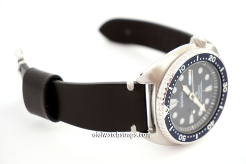 Handmade Vintage Racing Black Leather Watch Strap White Stitching For Seiko Watches