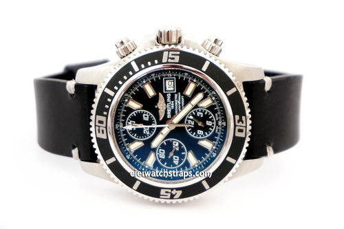 Breitling Superocean on Handmade Vintage Racing Black Leather Watch Strap WHite Stitching