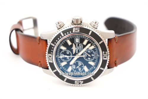 Breitling Superocean on Handmade Vintage Racing Brown Leather Watch Strap Brown Stitching