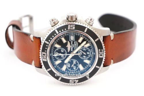 Breitling Superocean on Handmade Vintage Racing Brown Leather Watch Strap White Stitching