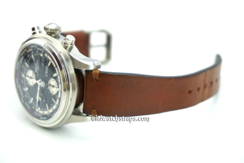 Handmade Vintage Racing Brown Leather Watch Strap Brown Stitching For Ball Railmaster