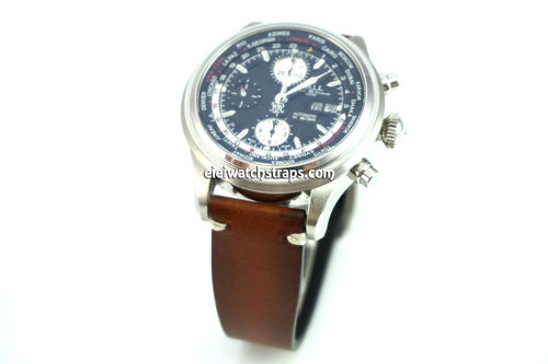 Handmade Vintage Racing Brown Leather Watch Strap White Stitching For Ball Railmaster