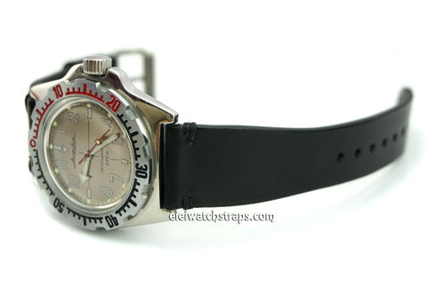 Handmade Vintage Racing Black Leather Watch Strap Black Stitching For Vostok Amphibia