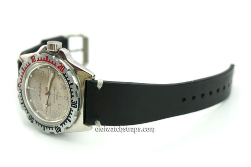 Handmade Vintage Racing Black Leather Watch Strap White Stitching For Vostok Amphibia