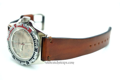 Handmade Vintage Racing Brown Leather Watch Strap Brown Stitching For Vostok Amphibia