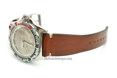 Handmade Vintage Racing Brown Leather Watch Strap White Stitching For Vostok Amphibia