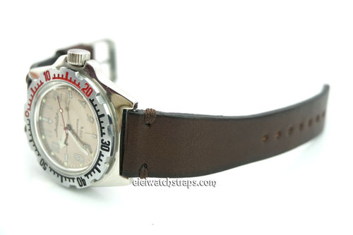 Handmade Vintage Racing Dark Brown Leather Watch Strap Brown Stitching For Vostok Amphibia