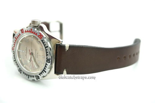 Handmade Vintage Racing Dark Brown Leather Watch Strap White Stitching For Vostok Amphibia