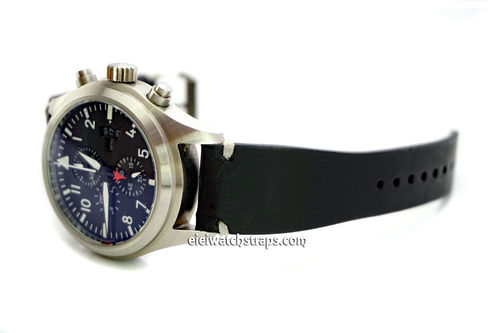 Handmade Vintage Racing Black Leather Watch Strap White Stitching For IWC Pilot's Watches