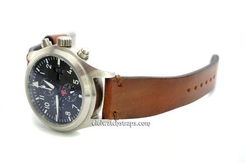 Handmade Vintage Racing Brown Leather Watch Strap Brown Stitching For IWC Pilot's Watches
