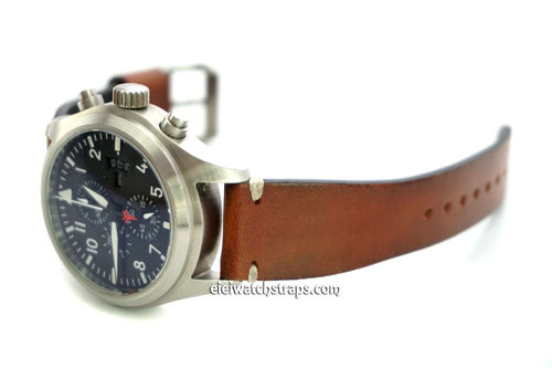 Handmade Vintage Racing Brown Leather Watch Strap White Stitching For IWC Pilot's Watches