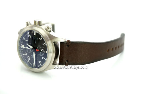 Handmade Vintage Racing Dark Brown Leather Watch Strap Brown Stitching For IWC Pilot's Watches