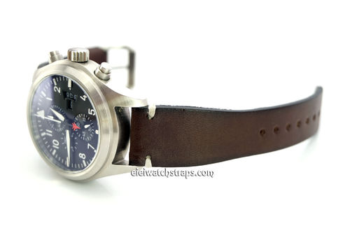 Handmade Vintage Racing Dark Brown Leather Watch Strap White Stitching For IWC Pilot's Watches