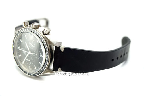 "OMEGA Speedmaster Professional ""Moonwatch Vintage Racing Black Leather Watch Strap White Stitching"
