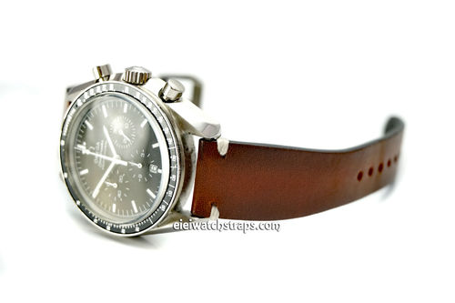 "OMEGA Speedmaster Professional ""Moonwatch Vintage Racing Brown Leather Watch Strap White Stitching"